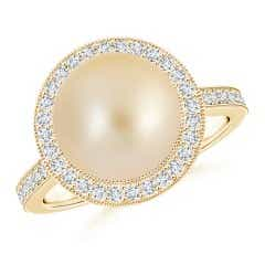 Angara South Sea Cultured Pearl Ring with Floral Halo 4Xz8orX