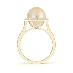 Toggle Golden South Sea Cultured Pearl Halo Ring with Milgrain