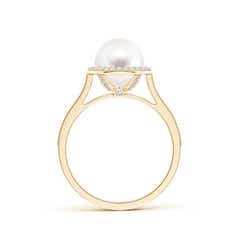 Round Freshwater Cultured Pearl and Diamond Halo Ring with Milgrain