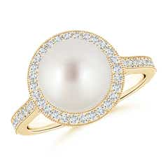 Round South Sea Cultured Pearl and Diamond Halo Ring with Milgrain