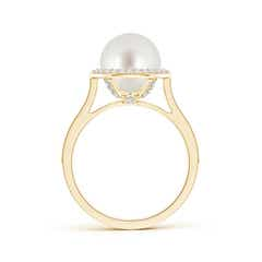 Toggle South Sea Cultured Pearl Halo Ring with Milgrain