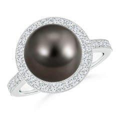 Tahitian Cultured Pearl Halo Ring with Milgrain