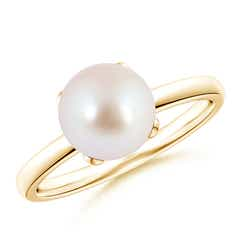Classic Solitaire Akoya Cultured Pearl Ring