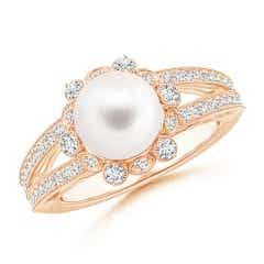 Split Shank FreshWater Cultured Pearl Halo Ring with Diamond Milgrain