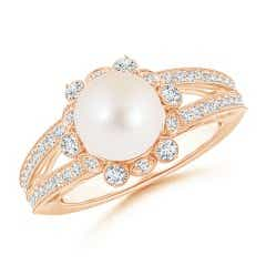 Freshwater Cultured Pearl and Diamond Ring with Floral Halo
