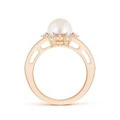 Toggle Freshwater Cultured Pearl and Diamond Ring with Floral Halo