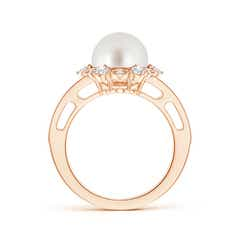 Toggle South Sea Cultured Pearl and Diamond Ring with Floral Halo