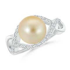 Golden South Sea Cultured Pearl Infinity Ring with Diamonds