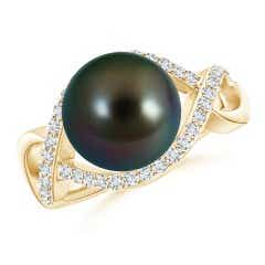 Tahitian Cultured Pearl Infinity Ring with Diamonds