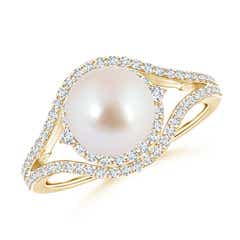 Akoya Cultured Pearl Split Shank Ring with Double Halo