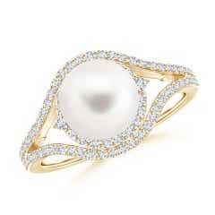 FreshWater Cultured Pearl Split Shank Ring with Diamond Double Halo