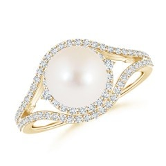 Freshwater Cultured Pearl Split Shank Ring with Double Halo