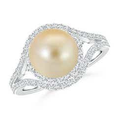 Golden South Sea Cultured Pearl Ring with Double Halo