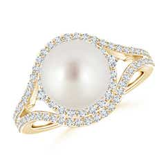 South Sea Cultured Pearl Split Shank Ring with Double Halo
