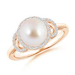 Angara Akoya Cultured Pearl Split Shank Halo Ring fA1Tehr