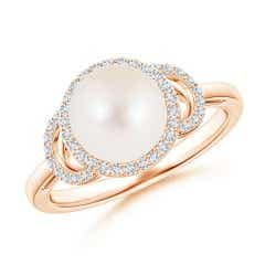 Round FreshWater Cultured Pearl and Diamond Halo Engagement Ring