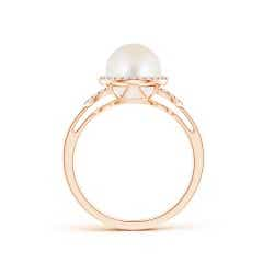 Toggle Freshwater Cultured Pearl Halo Ring with Diamonds