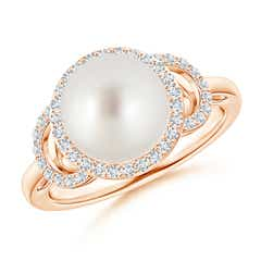 South Sea Cultured Pearl Halo Ring with Diamonds