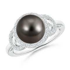 Tahitian Cultured Pearl Halo Ring with Diamonds