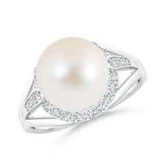 FreshWater Cultured Pearl Split Shank Ring with Diamond Halo