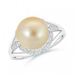 Golden South Sea Cultured Pearl Split Shank Ring with Diamond Halo