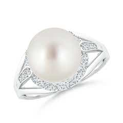 South Sea Cultured Pearl Split Shank Ring with Diamond Halo