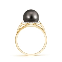 Tahitian Cultured Pearl Split Shank Ring with Diamond Halo