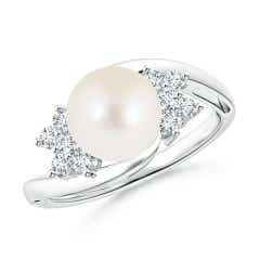 Freshwater Cultured Pearl Floral Ring with Diamonds
