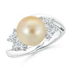 Golden South Sea Cultured Pearl Bypass Ring with Clusters
