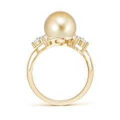 Toggle Golden South Sea Cultured Pearl Floral Ring with Diamonds