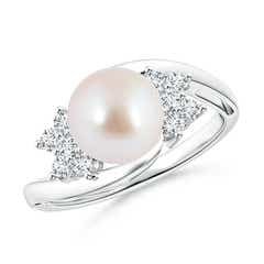 Solitaire Akoya Cultured Pearl Bypass Ring with Diamond