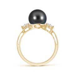 Toggle Tahitian Cultured Pearl Floral Ring with Diamonds