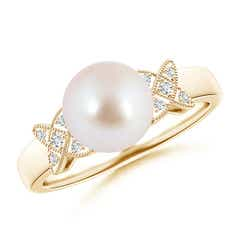 Akoya Cultured Pearl XO Ring with Diamonds