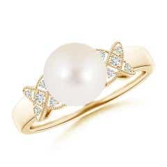 Freshwater Cultured Pearl XO Ring with Diamonds