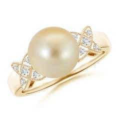 Vintage Style Golden South Sea Cultured Pearl Ring
