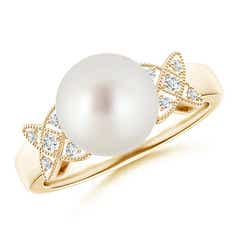 South Sea Cultured Pearl XO Ring with Diamonds