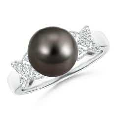 Tahitian Cultured Pearl XO Ring with Diamonds