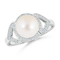 Freshwater Cultured Pearl Split Shank Halo Ring