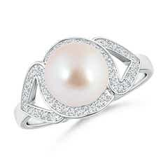 Split Shank Akoya Cultured Pearl Engagement Ring with Diamond Halo
