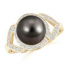 Split Shank Tahitian Cultured Pearl Engagement Ring with Diamond Halo
