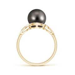 Toggle Tahitian Cultured Pearl Split Shank Halo Ring