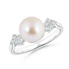 Akoya Cultured Pearl Ring with Cluster Diamond Accents
