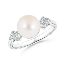 Freshwater Cultured Pearl Ring with Cluster Diamond Accents