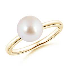 Classic Akoya Cultured Pearl Solitaire Ring