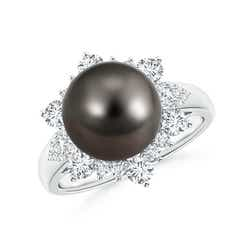 Tahitian Cultured Pearl Halo Ring with Diamond Floral