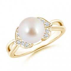 Akoya Cultured Pearl Ring with Diamond Leaf Motifs
