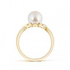 Toggle Akoya Cultured Pearl Ring with Diamond Leaf Motifs
