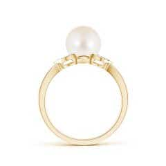Toggle Freshwater Cultured Pearl Ring with Diamond Leaf Motifs