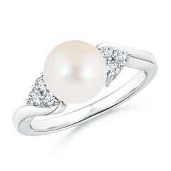 FreshWater Cultured Pearl Bypass Ring with Trio Diamonds