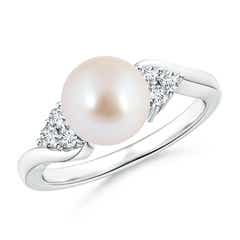 Akoya Cultured Pearl Bypass Ring with Trio Diamonds